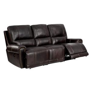 Deals on HomeFare 89.5-in W Leather 3-Seats Sofa with Power Reclining