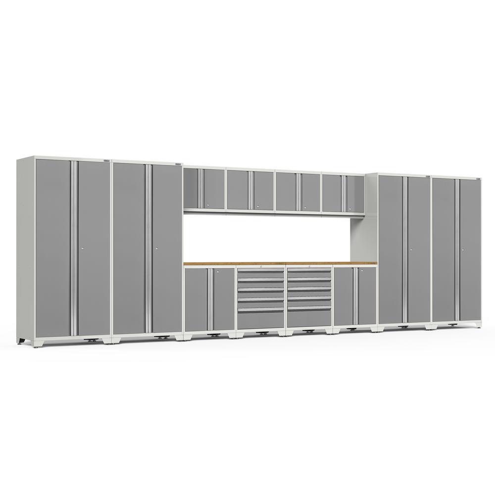 Pro 3.0 Series 256 in. W x 83.25 in. H x 24 in. D 18-Gauge Welded Bamboo Worktop Cabinet Set in Platinum (14-Piece)