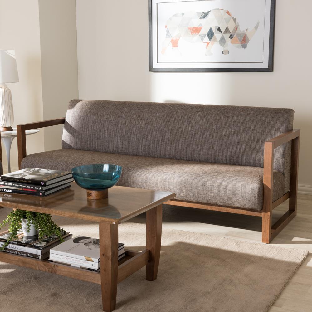 Valencia Mid-Century Gray Fabric Upholstered Sofa