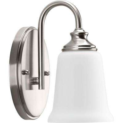 Wander Collection 1-Light Brushed Nickel Bath Sconce with Etched Glass Shade