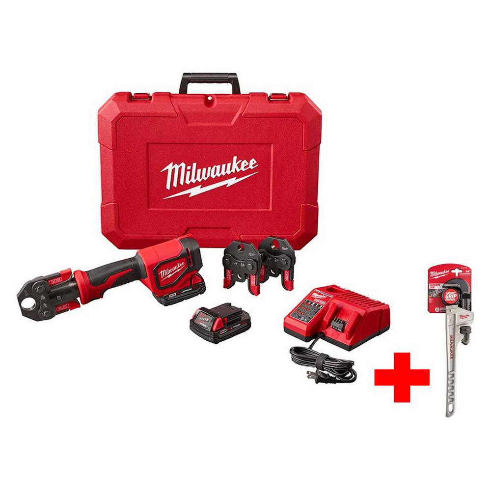 milwaukee m18 18 volt lithium ion cordless short throw press tool kit with pex crimp jaws with. Black Bedroom Furniture Sets. Home Design Ideas