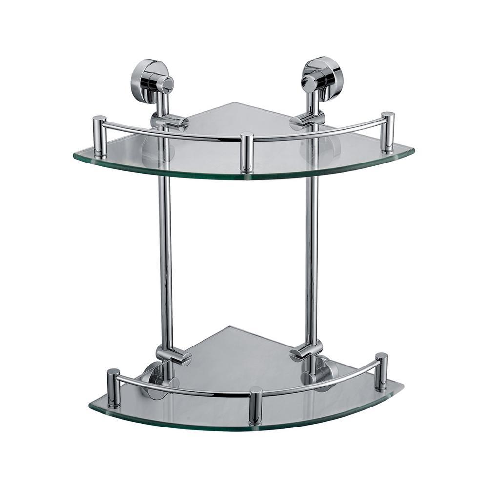 Corner Bathroom Shelf with Sleek Modern Design in Brass