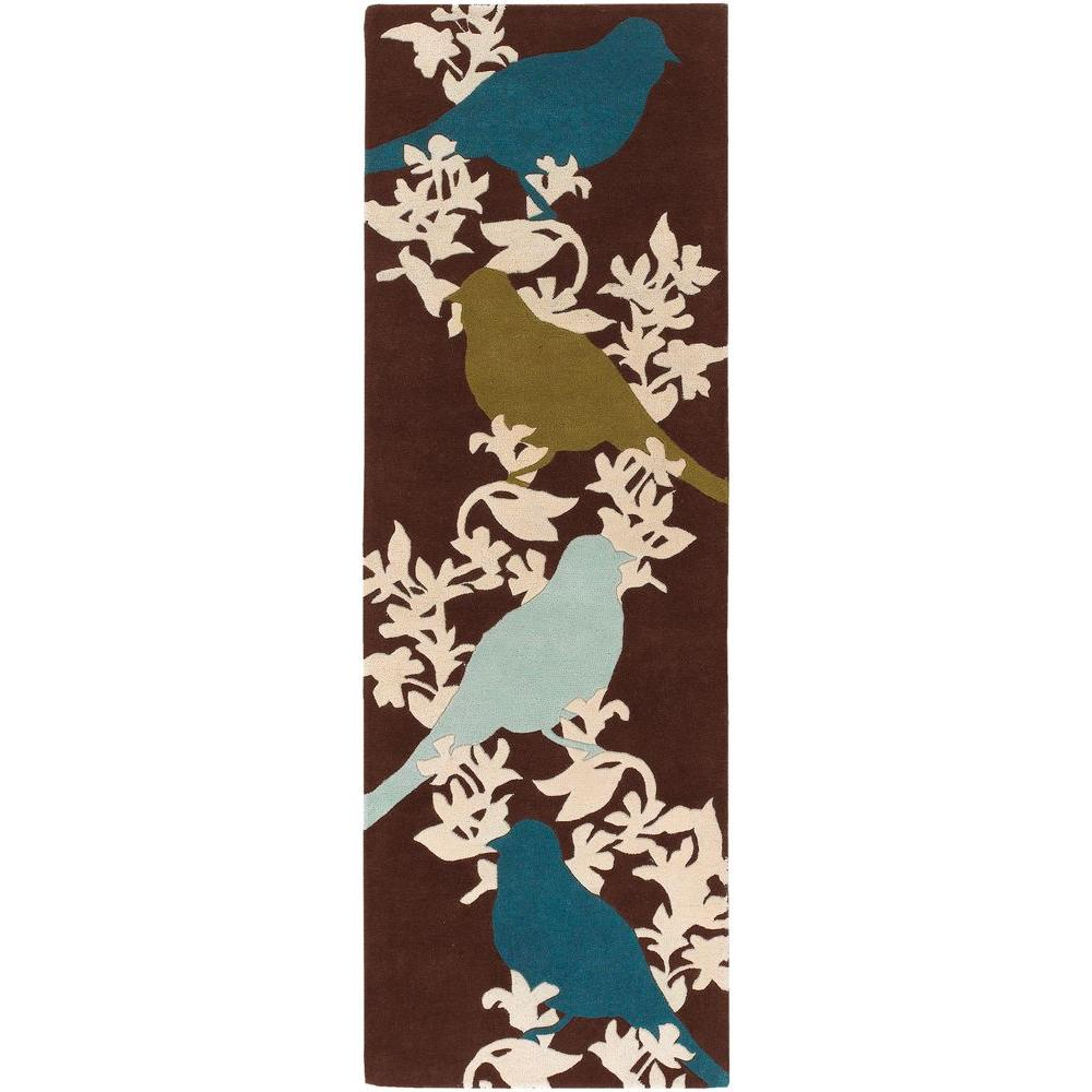 Chandra Thomaspaul Brown/Cream/Blue/Green/Aqua 2 ft. 6 in. x 7 ft. 6 in. Indoor Runner