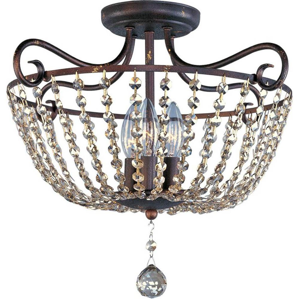Maxim Lighting Adriana 3 Light Urban Rustic Semi Flush Mount 22191UR