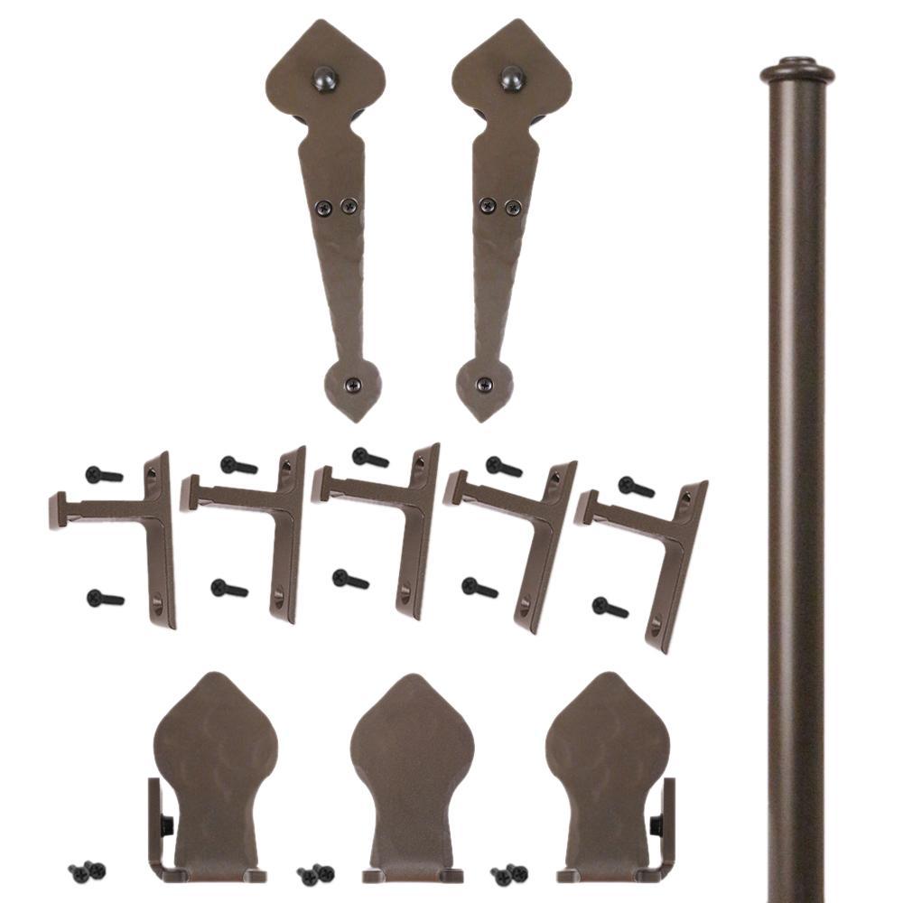 96 in. Spade Oil Rubbed Bronze Rolling Door Hardware Kit