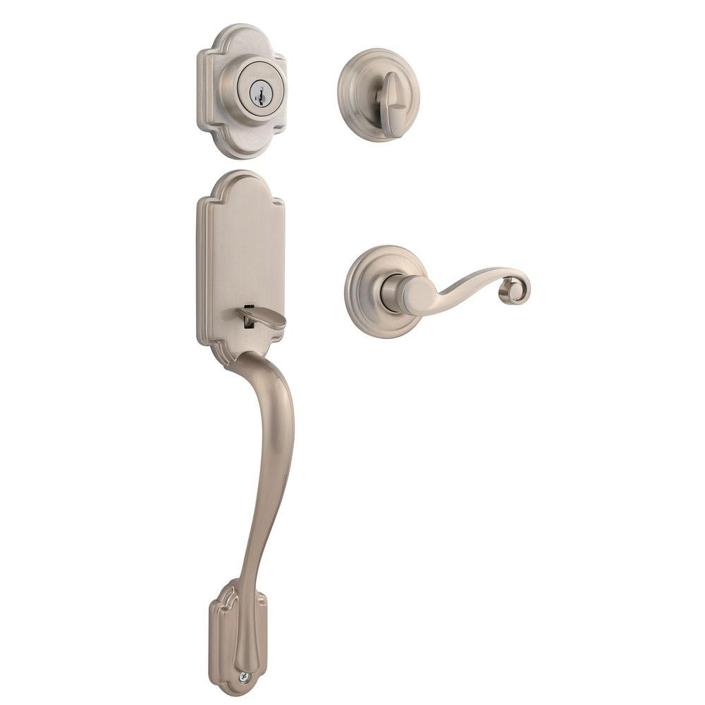 Kwikset Arlington Single Cylinder Satin Nickel Handle Set with Lido Lever featuring SmartKey