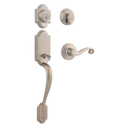 Arlington Single Cylinder Satin Nickel Handle Set with Lido Lever featuring SmartKey