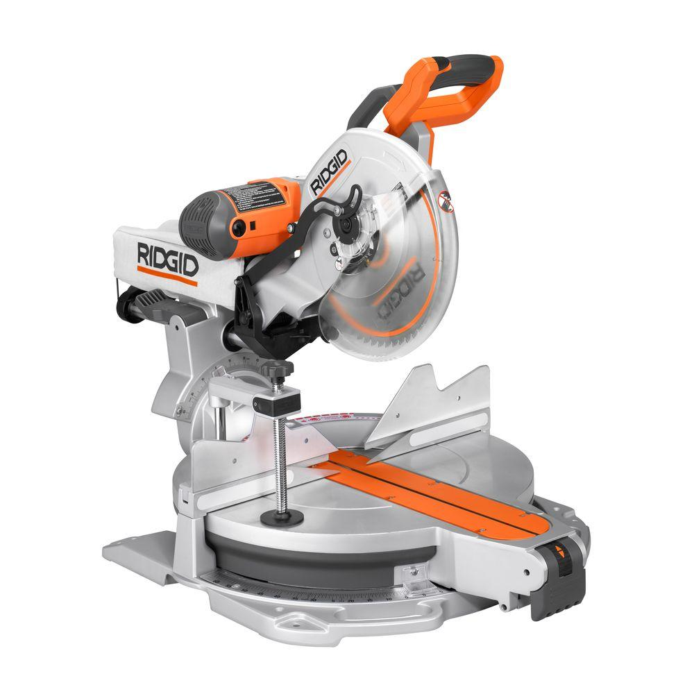 ridgid 15 amp 12 in sliding compound miter saw with adjustable