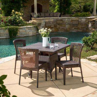 Multi-Brown 5-Piece Wicker Square Outdoor Dining Set