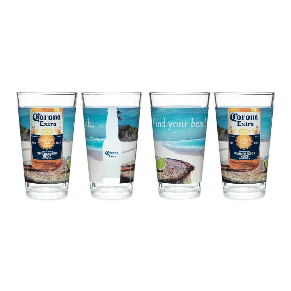 Corona 16 oz. Mixing Glass Find Your Beach (Set of 4)