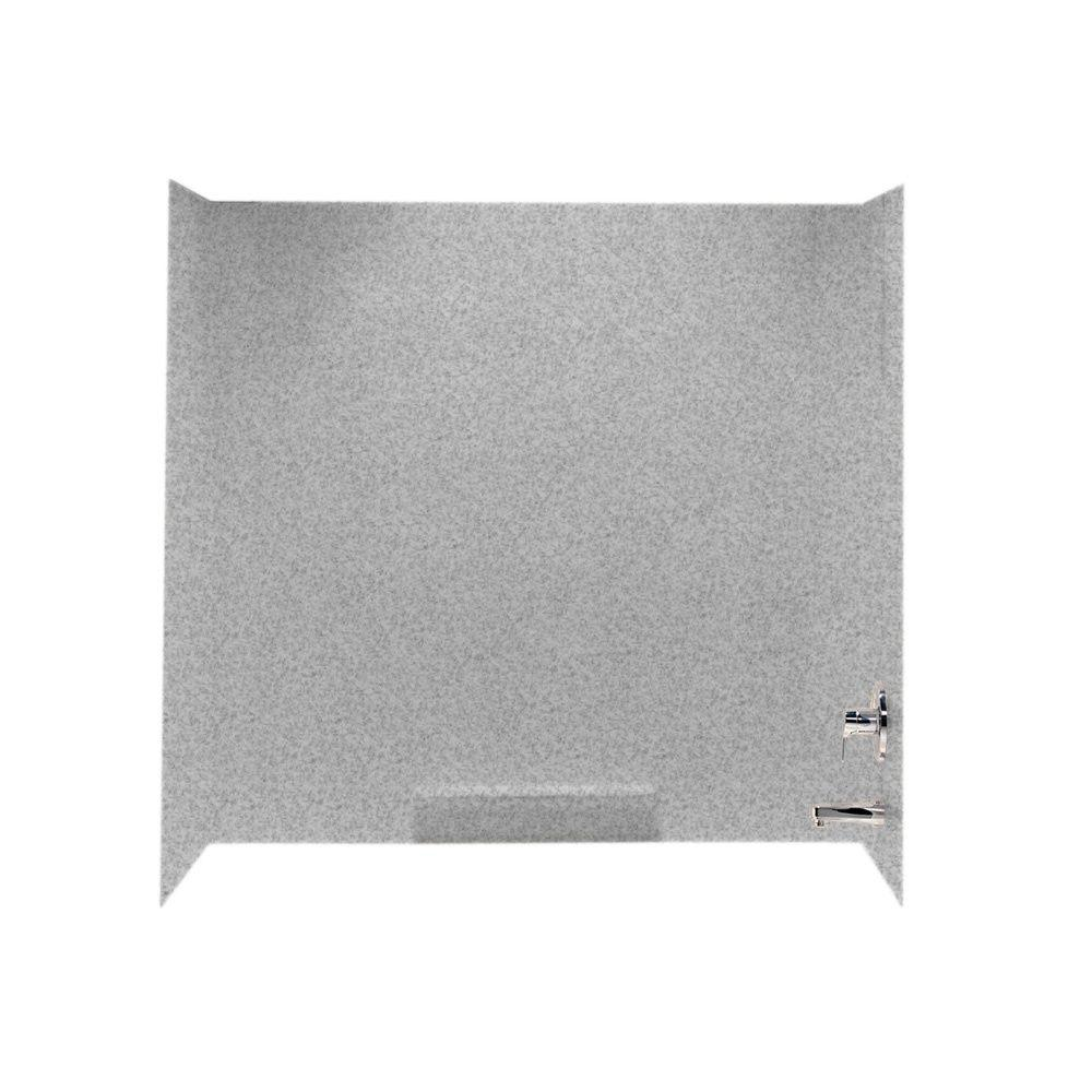 Swan 30 in. x 60 in. x 58 in. 3-Piece Easy Up Adhesive Tub Wall in Gray Granite