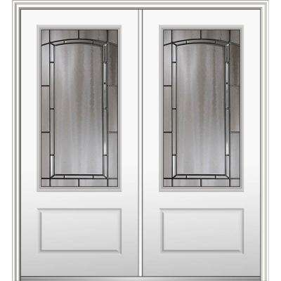 72 in. x 80 in. Solstice Right-Hand Inswing 3/4-Lite Decorative 1-Panel Painted Fiberglass Smooth Prehung Front Door
