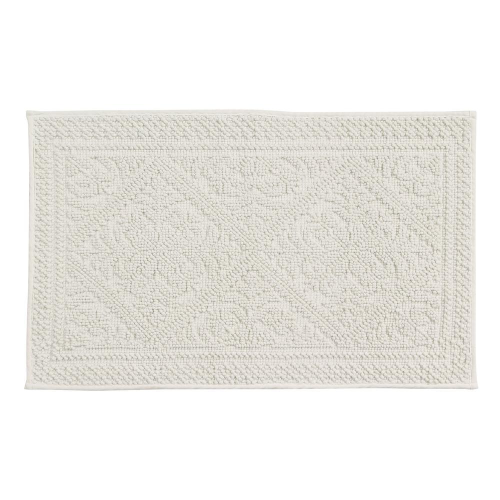 Jaquard Bath Rug White 21 in. x 34 in. Cotton Bath Rug