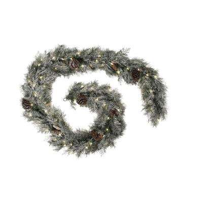 9 ft. Pre-Lit Mountain Spruce Artificial Christmas Garland with Clear Lights and Frost