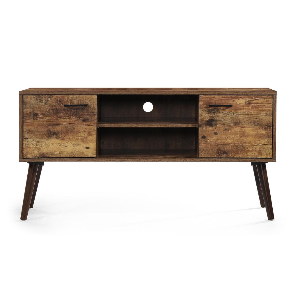 Amarah mid century modern pine brown fiberboard tv console with walnut accents