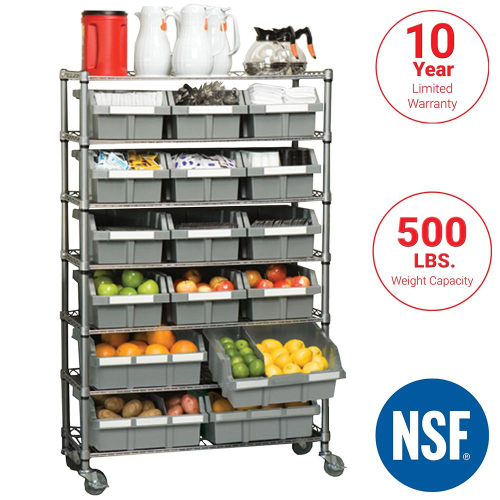 Commercial 7 Tier Nsf 16 Bin Rack