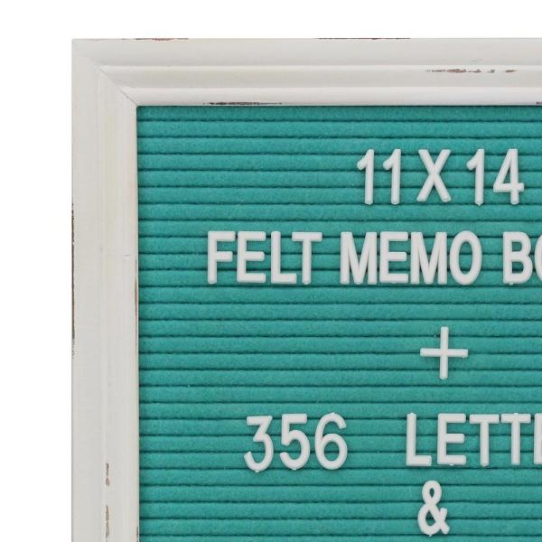 Turquoise Felt Memo Board with White Wash Wooden Frame