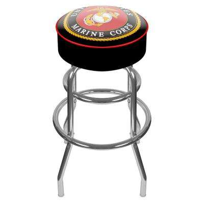 United States Marine Corps 31 in. Chrome Padded Swivel Bar Stool