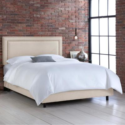 Destiny Linen Talc Queen Border Bed with Brass Nail Buttons