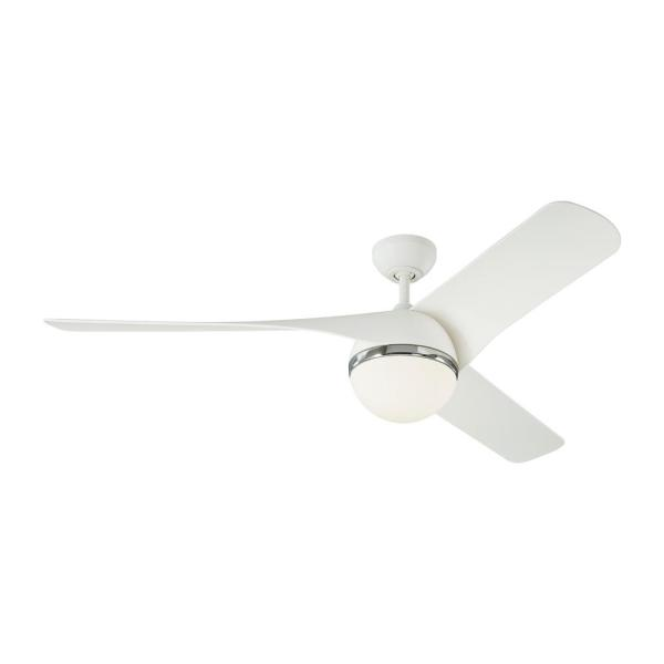 Akova 56 in. Integrated LED Indoor/Outdoor Matte White Ceiling Fan with Light Kit, DC Motor and 3-Speed Remote Control