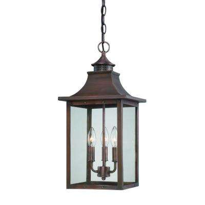 St. Charles Collection Hanging Outdoor 3-Light Copper Pantina Light Fixture