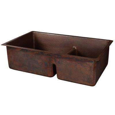 Dual-Mount Hammered Copper 33 in. 60/40 Double Bowl Kitchen Sink with Short Divide in Oil Rubbed Bronze