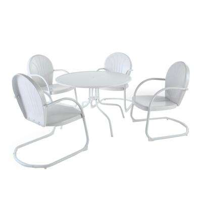 Griffith 39 in. 5-Piece Metal Outdoor Dining Set with Dining Table and Chairs in White