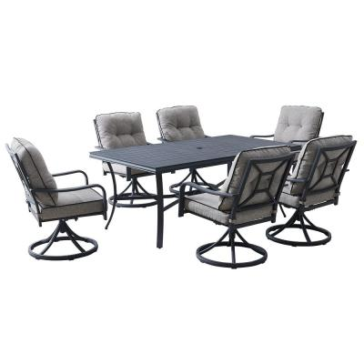 Davenport 7-Piece Aluminum Outdoor Dining Set with Gray Cushions