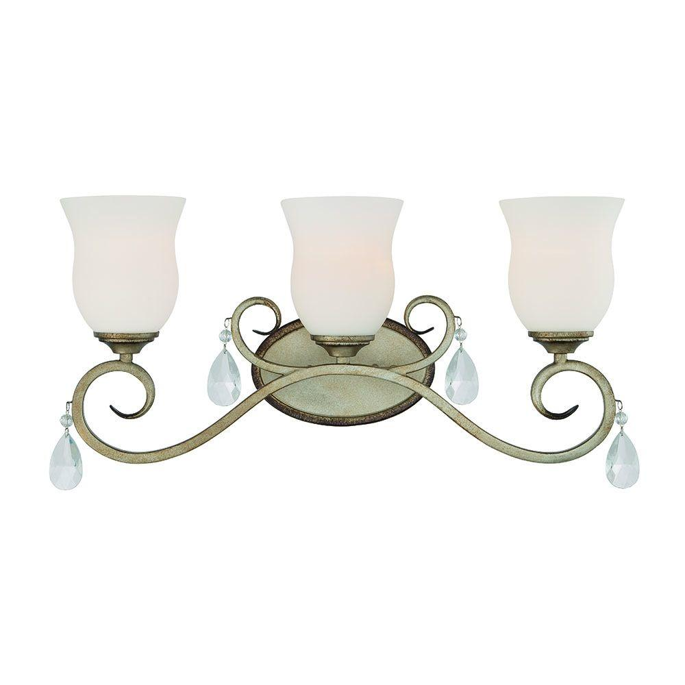 Gala 3-Light Argent Silver Interior Incandescent Bath Vanity Light