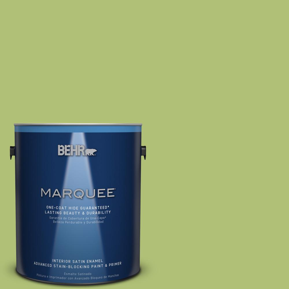 1 gal. #HDC-SM14-5 Lavish Lime Satin Enamel Interior Paint