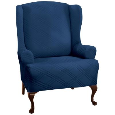 Navy Stretch Double Diamond Wing Chair Slipcover