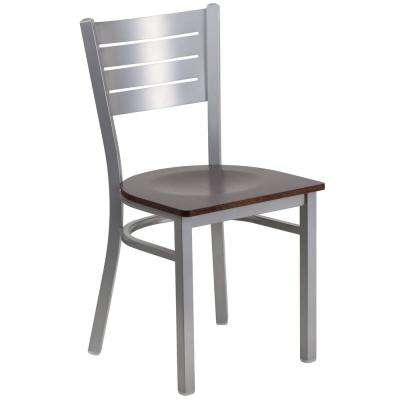 Hercules Walnut Wood Seat/Silver Frame Side Chair