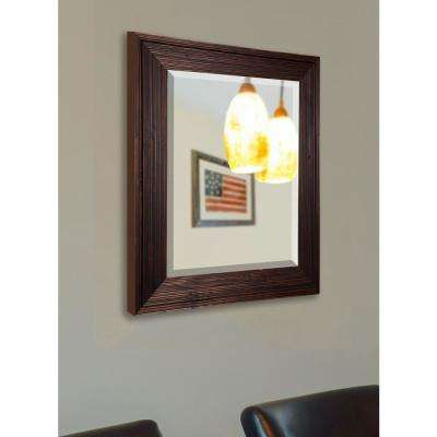 27.75 in. x 31.75 in. Barnwood Brown Rounded Beveled Wall Mirror