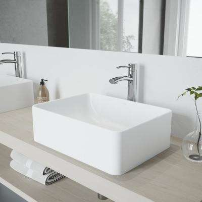 Caladesi Matte Stone Vessel Sink in White and Milo Faucet Set in Chrome