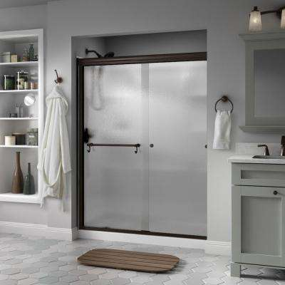 Portman 60 in. x 70 in. Semi-Frameless Traditional Sliding Shower Door in Bronze with Rain Glass