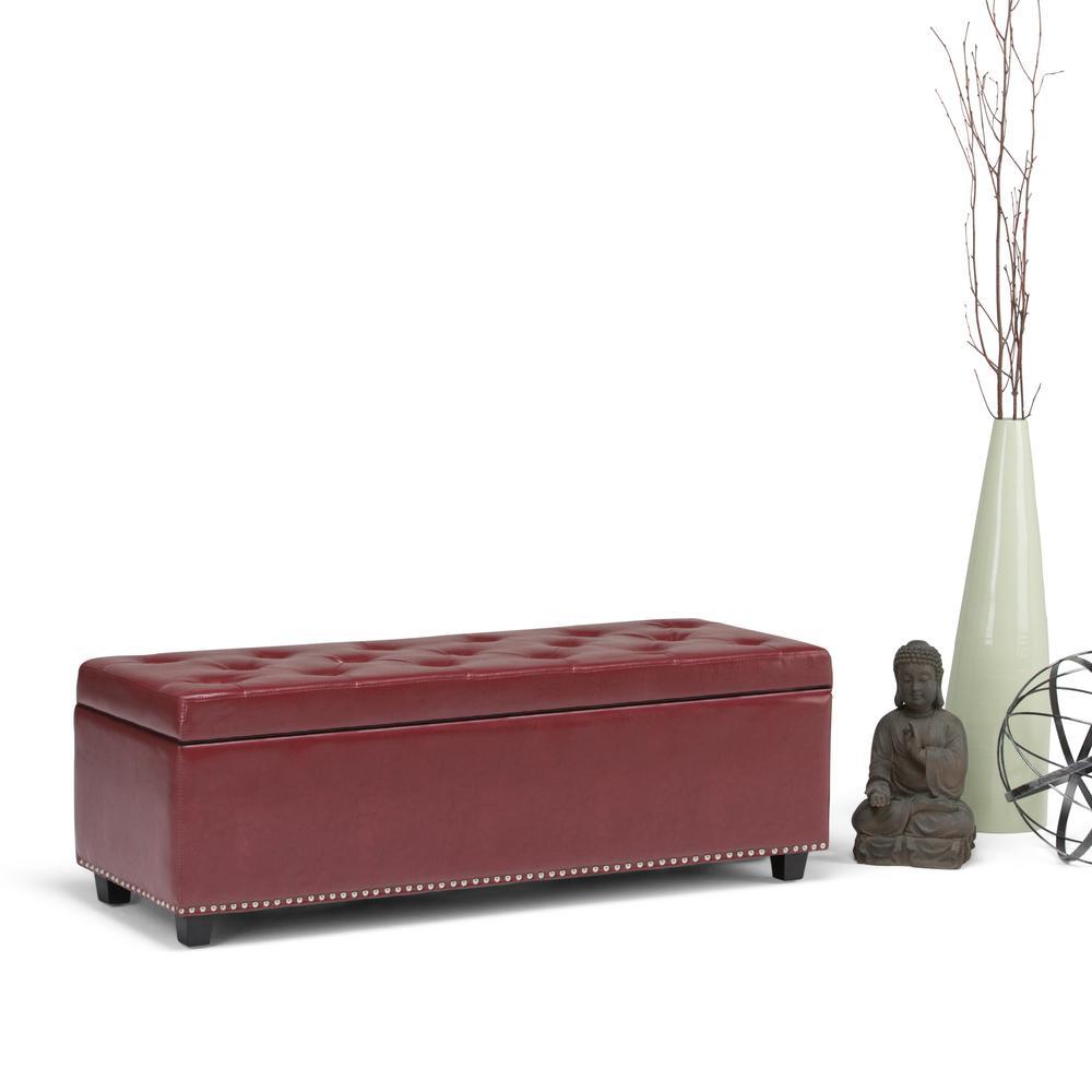 Simpli Home Hamilton Radicchio Red Storage Bench