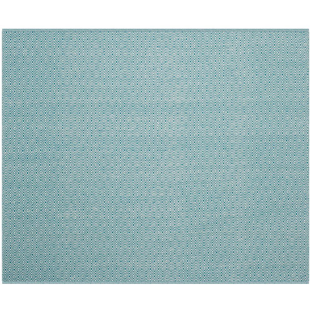 Montauk Ivory/Turquoise 6 ft. x 6 ft. Square Area Rug