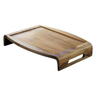 15 in. Acacia Wood Reversible Serving/Bed Tray Brown