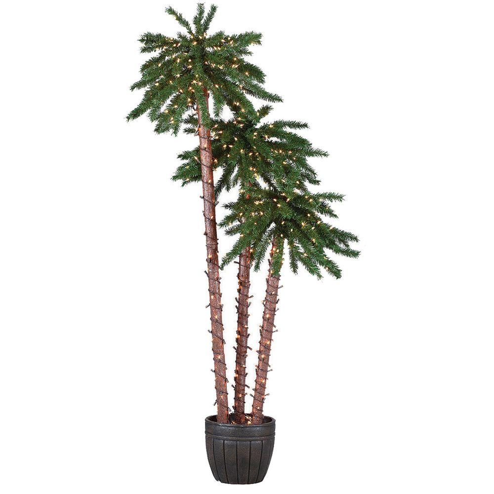 Sterling 5 ft., 6 ft. and 7 ft. Potted Palm Artificial Christmas Tree with Clear Lights
