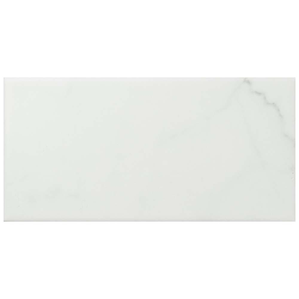 MerolaTile Merola Tile Classico Carrara Matte 3 in. x 6 in. Ceramic Wall Subway Tile (6.03 sq. ft. / case), White Marble / Medium Sheen