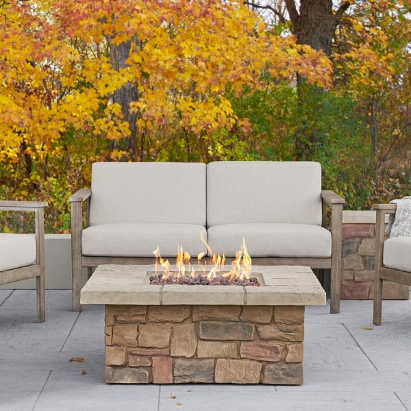 Sedona 38 in. x 19 in Square Fiber-Concrete Propane Fire Pit in Buff with Natural Gas Conversion Kit