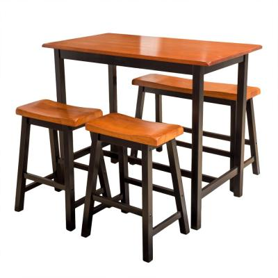 Pomeroy 4-Piece Black and Brown Bar Height Dining Set