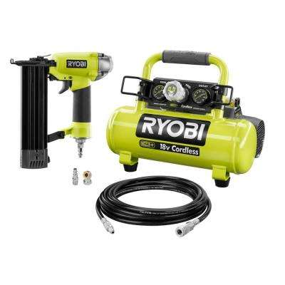 18-Volt ONE+ Cordless 1 Gal. Portable Air Compressor with 18-Gauge 2-1/8 in. Brad Nailer and 15 ft. Hose