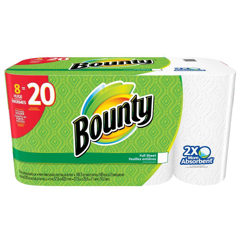 Bounty White Paper Towels 2-Ply (8 Huge Rolls)
