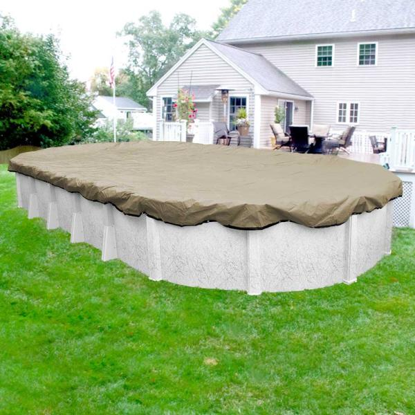 Premium 18 ft. x 40 ft. Oval Tan Solid Above Ground Winter Pool Cover