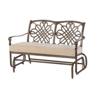 Click here to buy Hampton Bay Cavasso Metal Outdoor Glider with Oatmeal Cushion by Hampton Bay.
