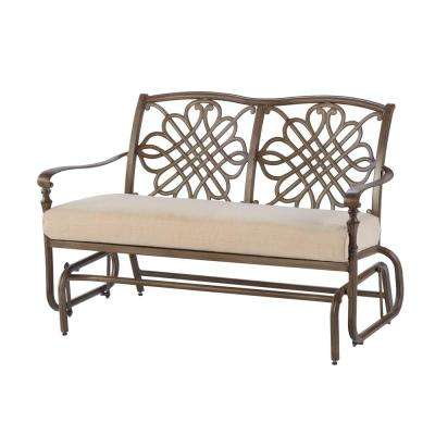 Cavasso Metal Outdoor Glider with Oatmeal Cushion