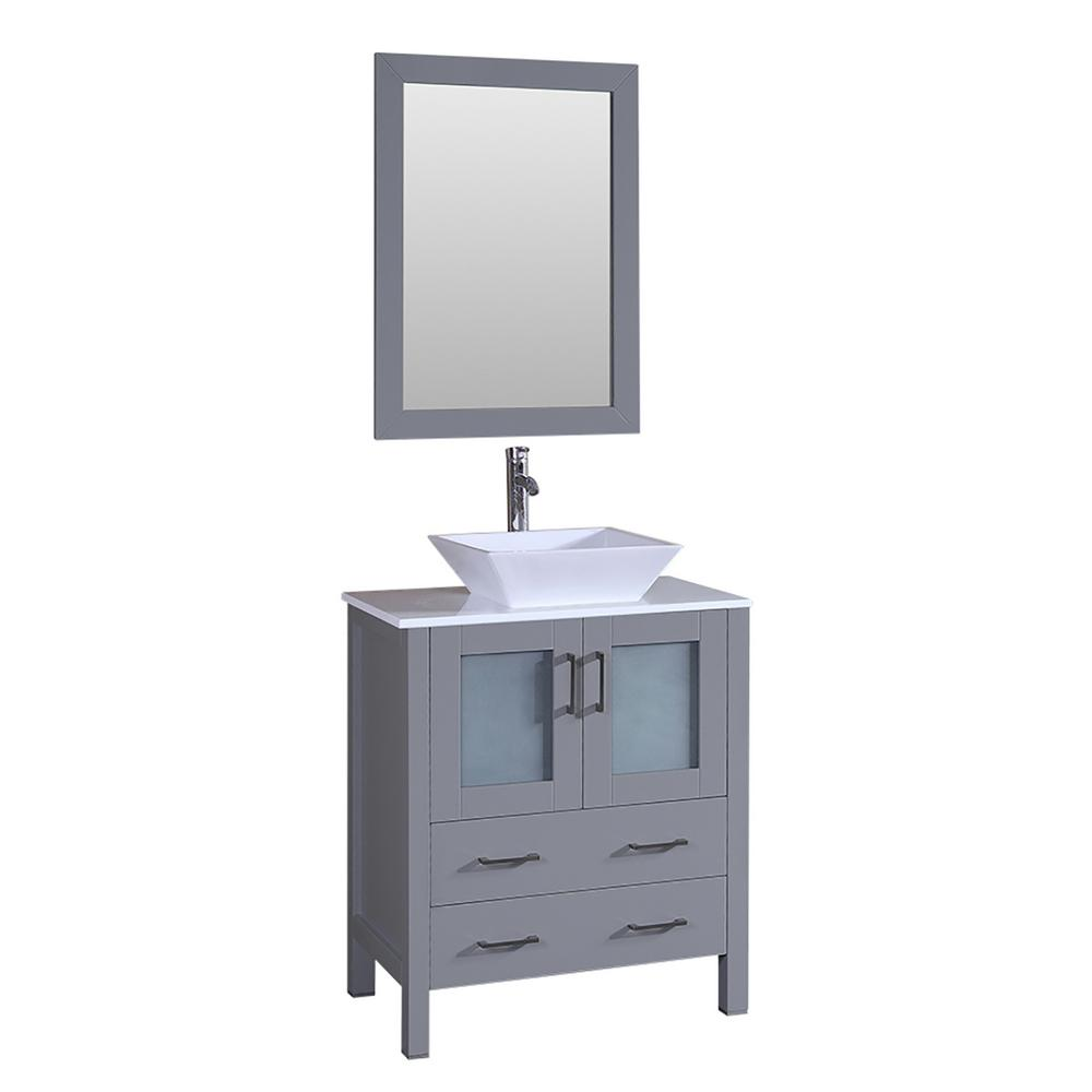 Bosconi 30 in. Single Vanity in Gray with Vanity Top in White in White with White Basin and Mirror