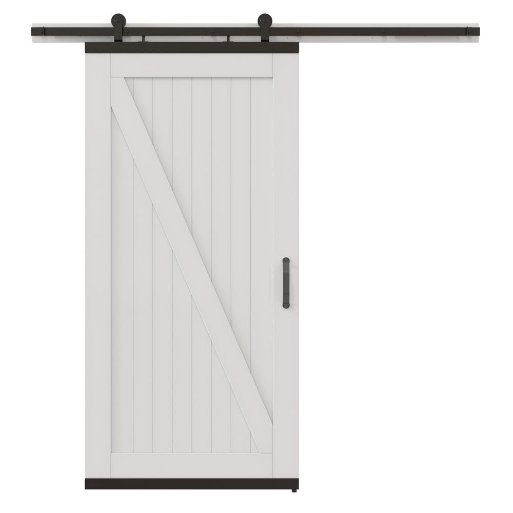 DesignGlide Rustic White Painted Wood Barn Door With Black