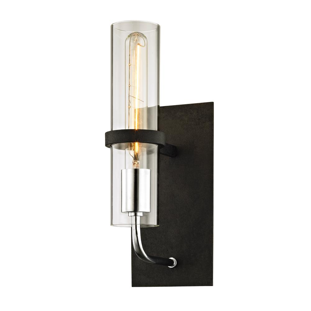 Troy Lighting Xavier 1 Light Vintage Iron 13 5 In H Wall Sconce With Clear Gl